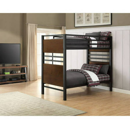 Better Homes and Gardens Mercer Twin Over Twin Metal Bunk Bed, Decorative Faux Wood Finish