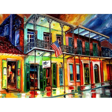 Down On Bourbon Street Colorful New Orleans City Building Architecture Artwork Print Wall Art By Diane Millsap