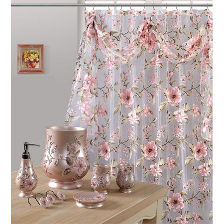 7 Piece Melrose Pink Shower Curtain And Resin Wastebasket Accessory Set