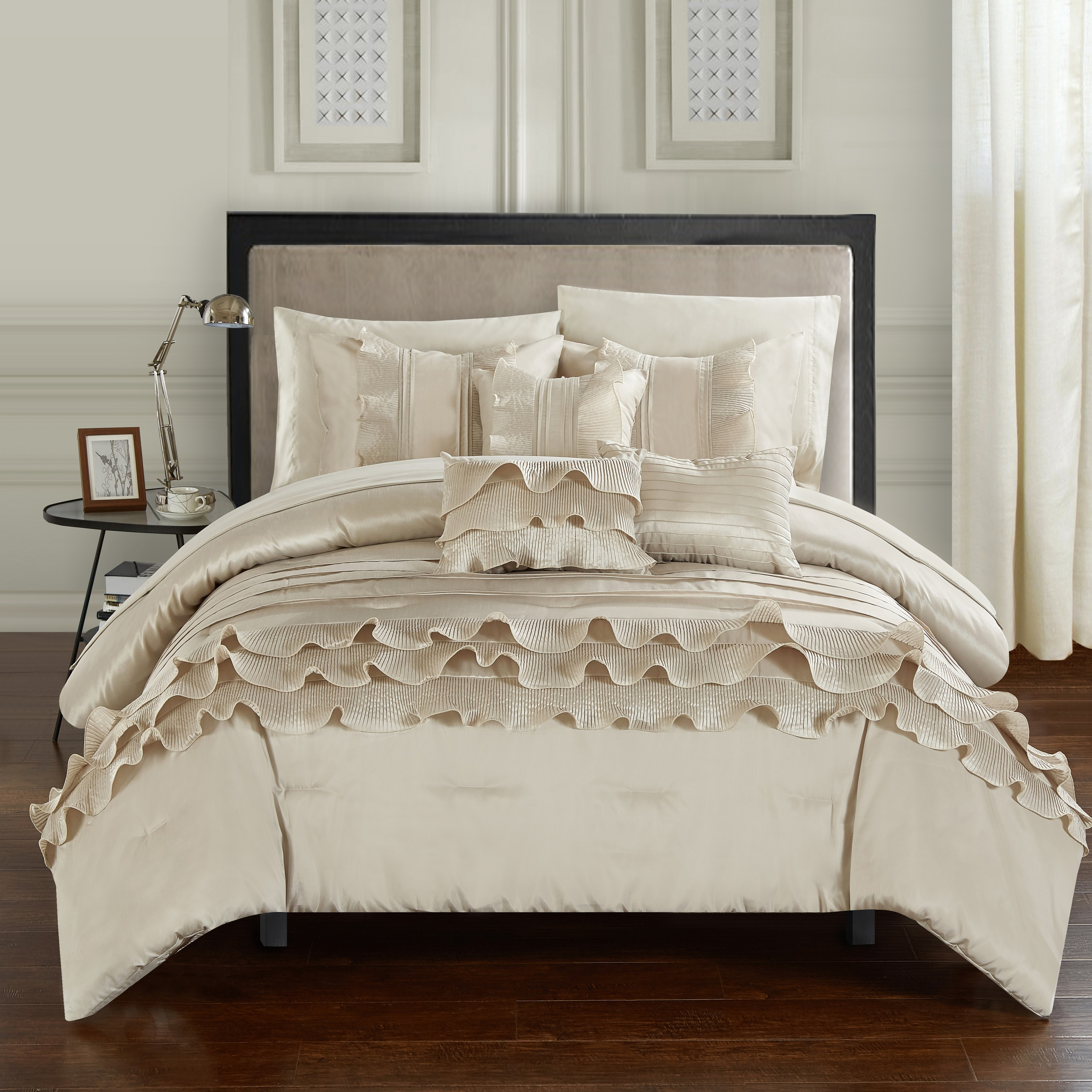 Chic Home 10-Piece Samson Rouching Pleated Ruffles Complete Bed In a Bag Comforter Set, Sheets set and Decorative pillows included