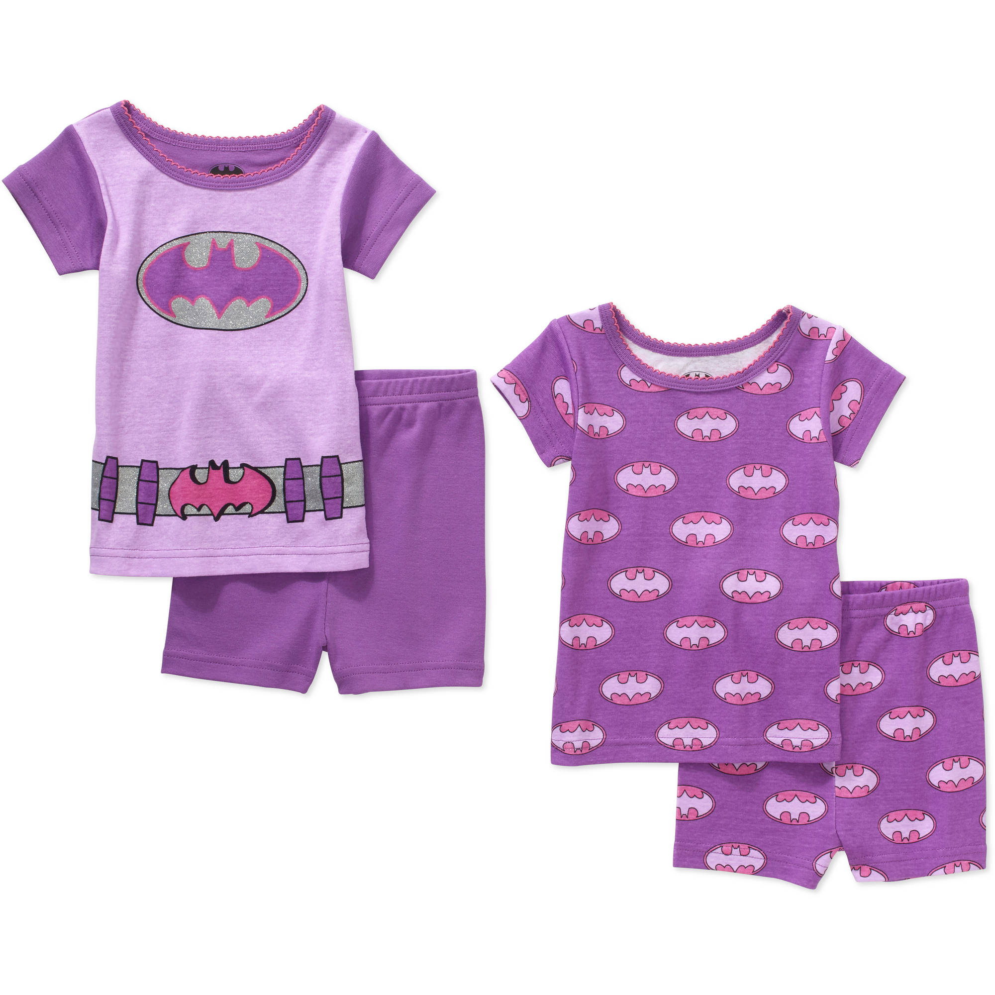 Batgirl Infant Baby Girl' Mix n' Match Short Sleeve Cotton Tight Fit Pajamas, 4-Pieces
