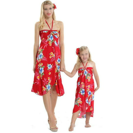 Women Girl Family Matching Floral Boho Sleeveless Dress Party Beachwear Sundress - Family Dress