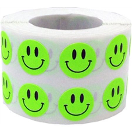 Fluorescent Green Circle Happy Face Stickers, 0.5 Inch Round, 1000 Labels on a Roll