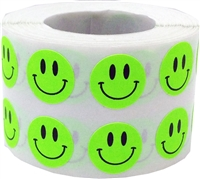 Yellow Smiley Face Circle Dot Stickers, 1/2 Inch Round, 1000 Labels on a Roll