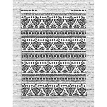- Native American Tapestry, Ethnic Primitive Tribal Art Pattern with Eagle Symbol Mystic Culture Folk, Wall Hanging for Bedroom Living Room Dorm Decor, Black White, by Ambesonne