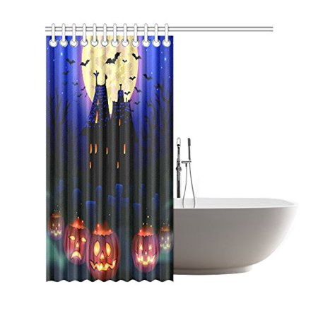 GCKG Haunted Castle House Shower Curtain, Happy Halloween Pumpkin Polyester Fabric Shower Curtain Bathroom Sets with Hooks 66x72 Inches - image 1 of 3