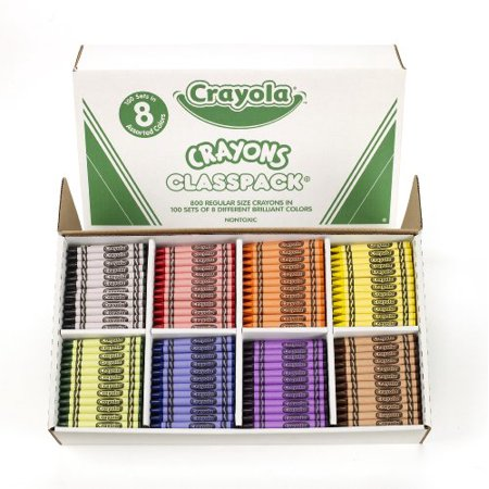 Green Crayola Crayon (Crayola Classpack Crayon - Red, Blue, Yellow, Orange, Green, Purple, Brown, Black, Violet Wax - 800 / Box)
