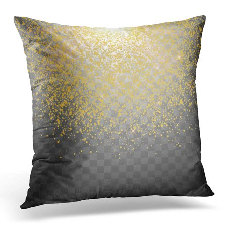ECCOT Black Shimmer Glitter Particles Effect Sparkling Star Dust Sparks in Explosion on Yellow Gold Pillowcase Pillow Cover Cushion Case 16x16 (Shimmer Dust)