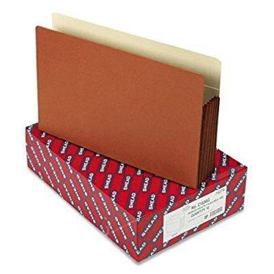 smd74274 5 1/4 inch expansion file pockets, straight tab, legal, manila/redrope, 10/box
