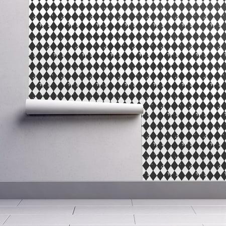 Wallpaper Roll Or Sample Black And White Harlequin Jester Diamond Boho Grunge