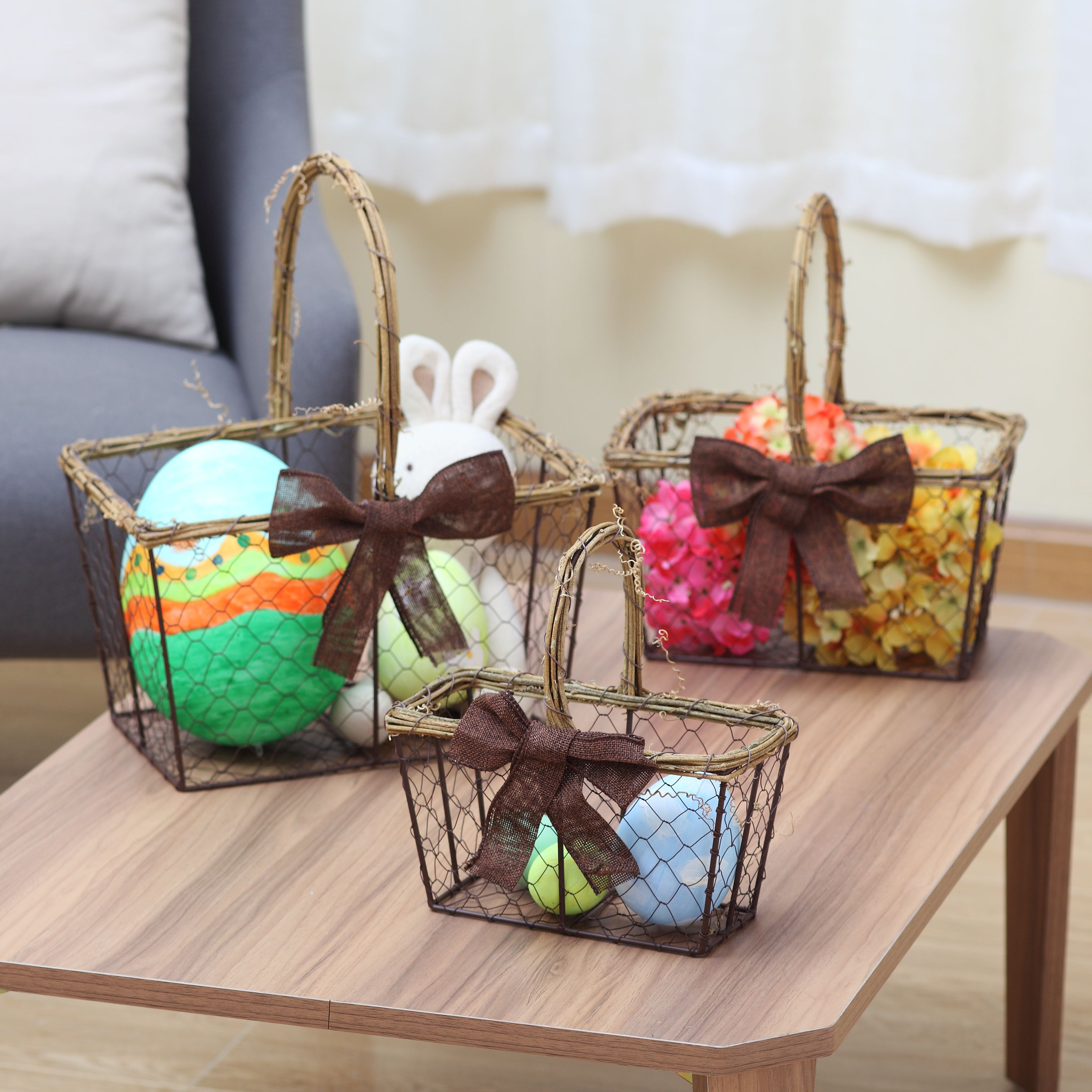 Way To Celebrate Large Wire Easter Basket with Rattan