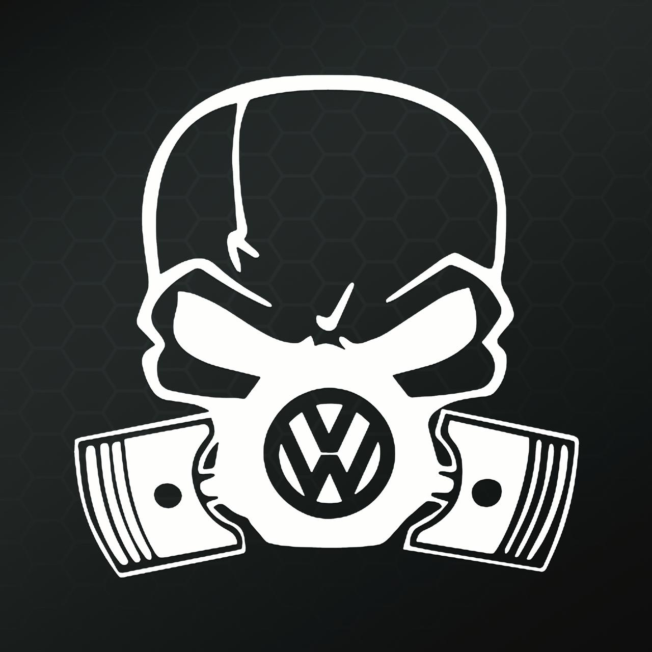 VW Skull Piston Gas Mask Vinyl Decal Sticker|Cars Trucks Vans Walls Laptops Cups|White|5.5 In|KCD827 by