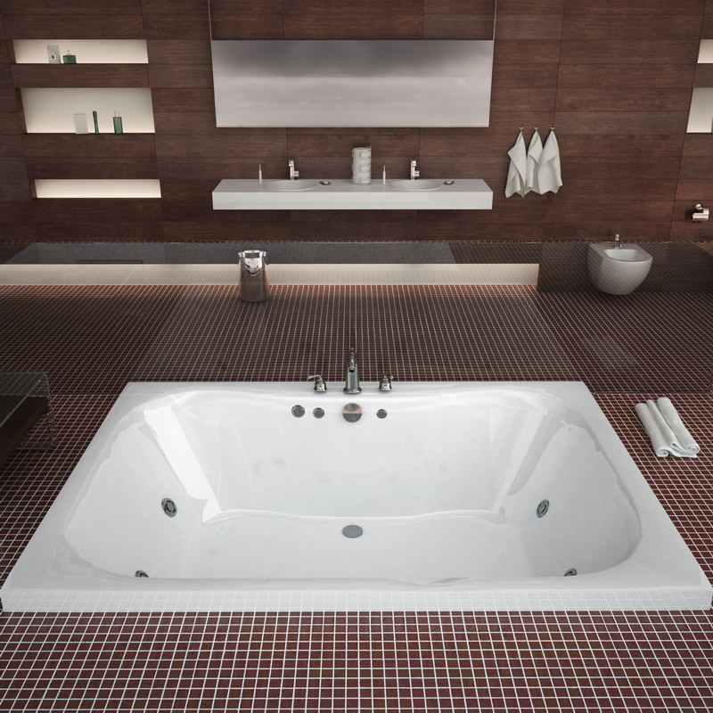 Atlantis Tubs 4860NWR Neptune 48 x 60 x 23 Rectangular Whirlpool Jetted Bathtub w/ Right Side Pump Placement