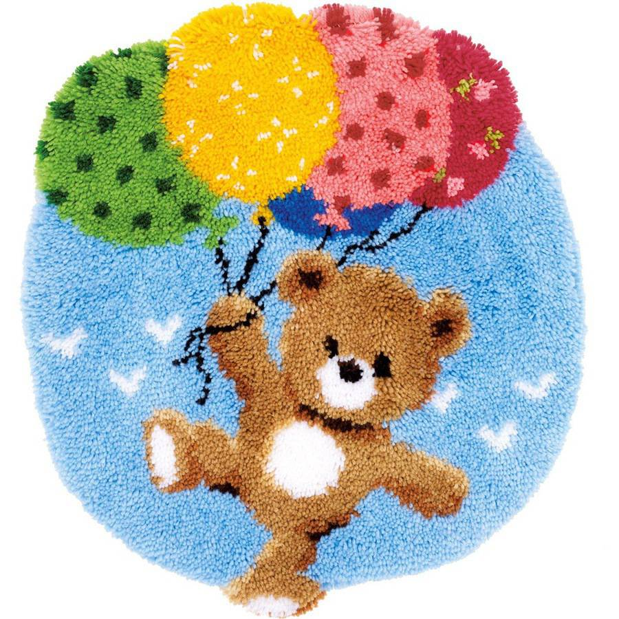 "Vervaco Shaped Rug Latch Hook Kit, 22"" x 24.75"", Bear with Balloons"
