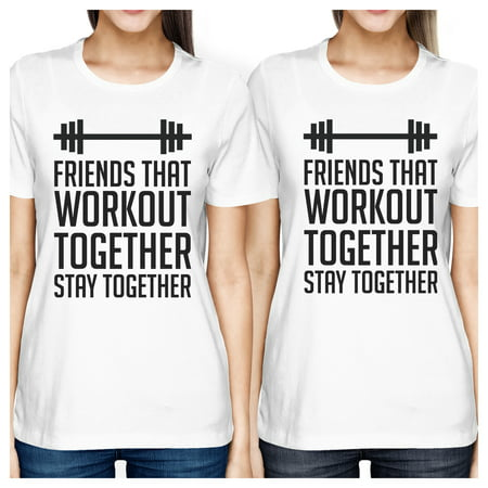 Friends Workout Together White Cute Best Friend T-shirts For
