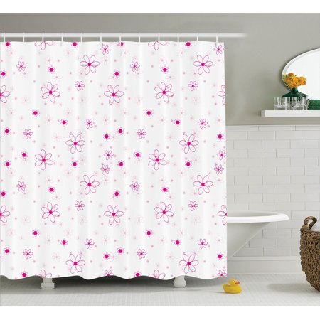 Teen Girls Decor Shower Curtain Set Pattern With Flowers