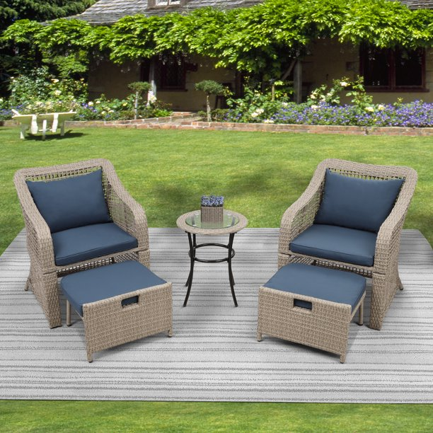 5-Piece Outdoor Patio Bistro Furniture Set, Wicker Patio Furniture