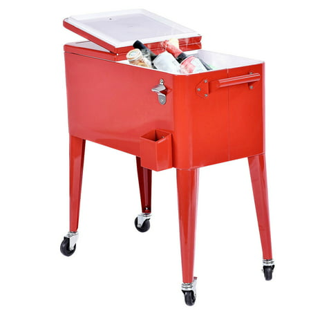 Costway Red Outdoor Patio 80 Quart Cooler Cart Ice Beer Beverage Chest Party Portable
