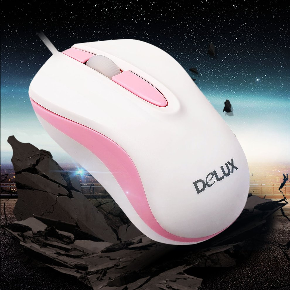 Delux M137 Optical Wired Mouse Fashion USB Mouse Office Ergonomic PC Mice