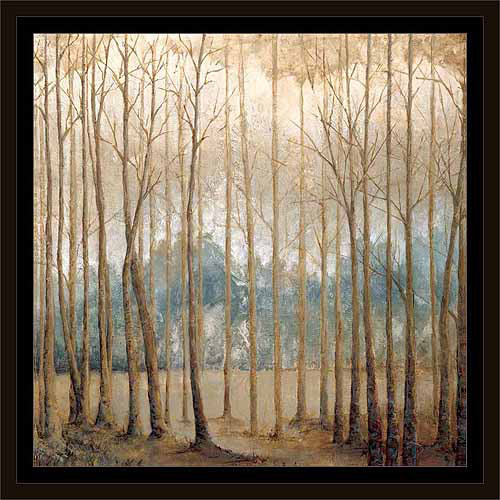 Neutral Birch Tree Forest Landscape Painting Tan & Blue, Framed Canvas Art by Pied Piper... by Circle Graphics
