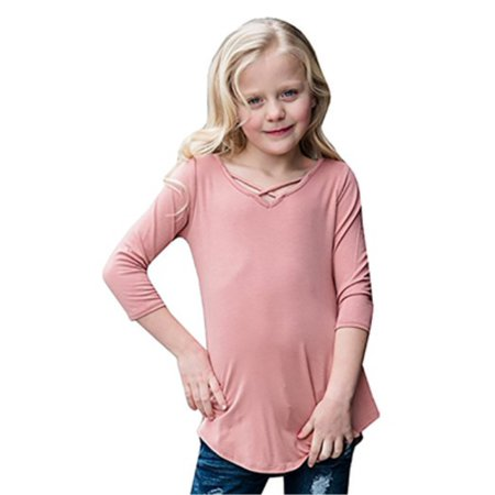 Solid Color Children Girls Kids Short Sleeve Tops T-shirt
