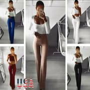 Women's Palazzo Flared Wide Leg Pants High Waist OL Ladies Casual Long Trousers