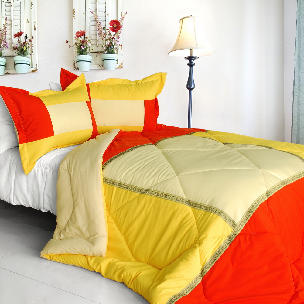 [Summer Sunrise] Quilted Patchwork Down Alternative Comforter Set-Twin