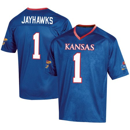 Men's Russell #1 Royal Kansas Jayhawks Fashion Football - Adidas Kansas Jayhawks Football Jersey