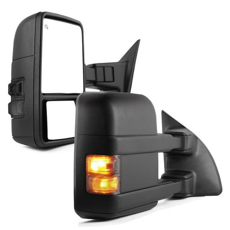 Towing Mirrors for 99-07 Ford F250/F350/F450/F550 Super Duty, Pair Set Power Heated Telescoping with Smoke Signal Light Side Mirrors