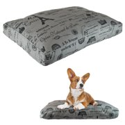 "Designer Paris Dog Pet Bed Pillow Deluxe Crate Cushion Removable Cotton Blend Cover, 27"" x 36"" x 4"""