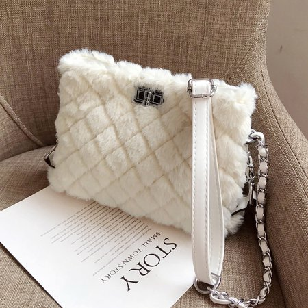Cross Body Lady Women Gifts Bag Faux Fur Shoulder Handbag Purse Tote Clutch White ()