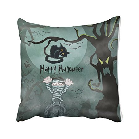 WinHome Vintage Fashion Happy Halloween Mummy And Cat Tree Watercolor Polyester 18 x 18 Inch Square Throw Pillow Covers With Hidden Zipper Home Sofa Cushion Decorative Pillowcases - Vintage Halloween Cat Faces