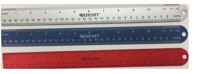WESTCOTT RULER WITH HOLD TO HANG..3 COLORS TO CHOOSE FROM..CORK BACKING