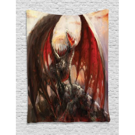 Fantasy World Tapestry, Majestic Dragon Resting on Mountain Mythological Fire-Spewing Creature Print, Wall Hanging for Bedroom Living Room Dorm Decor, Multicolor, by