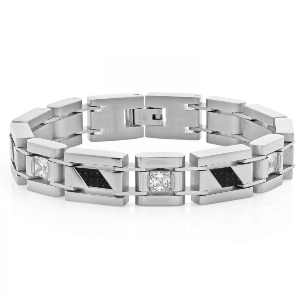 Mens Stainless Steel Carbon Fiber and Cubic Zirconia Stainless Steel Bracelet