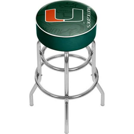 University of Miami Chrome Bar Stool with Swivel, Fade