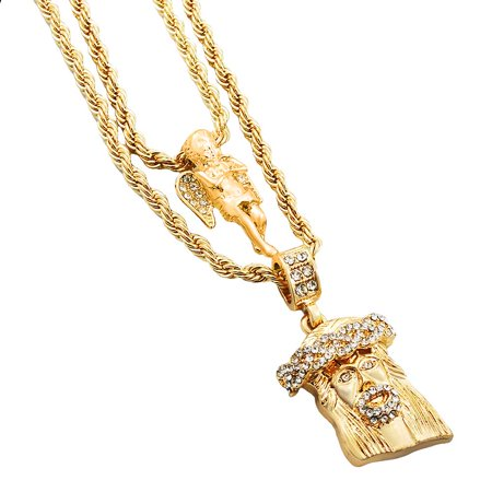 Gold-Tone Men's Iced Out Hip Hop Bling 2 Piece Pendant Praying Angel and Cuban Jesus 4mm Rope Chain Set - Cheap Jesus Piece Chain