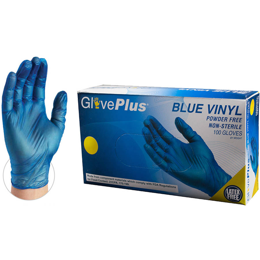 GlovePlus Blue Vinyl Industrial Disposable Gloves, Small by AMMEX