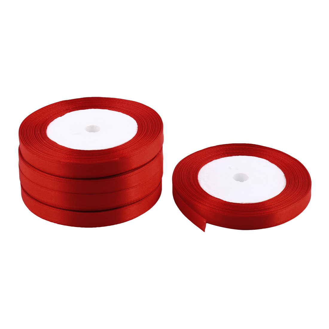 Room Decoration Polyester Gift Packing Crafting Satin Ribbon Roll Tape Red 5pcs