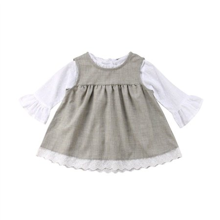 Kids Princess Outfit (Toddler Infant Kid Baby Girl Solid Color Princess Dress Casual Clothes Outfit 0-6)
