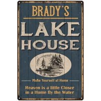 BRADY'S Lake House Blue Cabin Home Decor 8 x 12 High Gloss Metal 208120038411