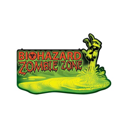 Biohazard Zombie Zone Warning Sign Infected Halloween Decoration for $<!---->