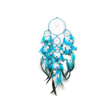 Blue Catchers - VICOODA Traditional 5 Circles Blue Dream Catcher with Feathers Wall or Car Hanging Ornament