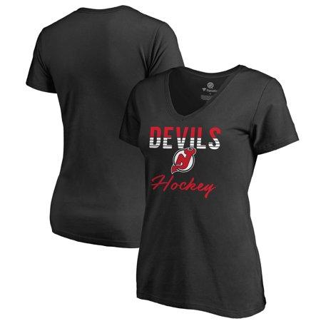 New Jersey Devils Fanatics Branded Women's Freeline Plus Size V-Neck T-Shirt - Black