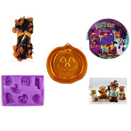 Halloween Fun Gift Bundle [5 Piece] -  Black & Orange Pumpkin Garland 10 ft. - McDonald's Haunted House, RIP, Boo  Plate - Wilton Iridescents Jack-O-Lantern Pan - Happy - Halloween Vodka Jello