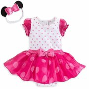 Disney Store Minnie Mouse Pink Polka Dot Baby Bodysuit & Headband 0 3 Months