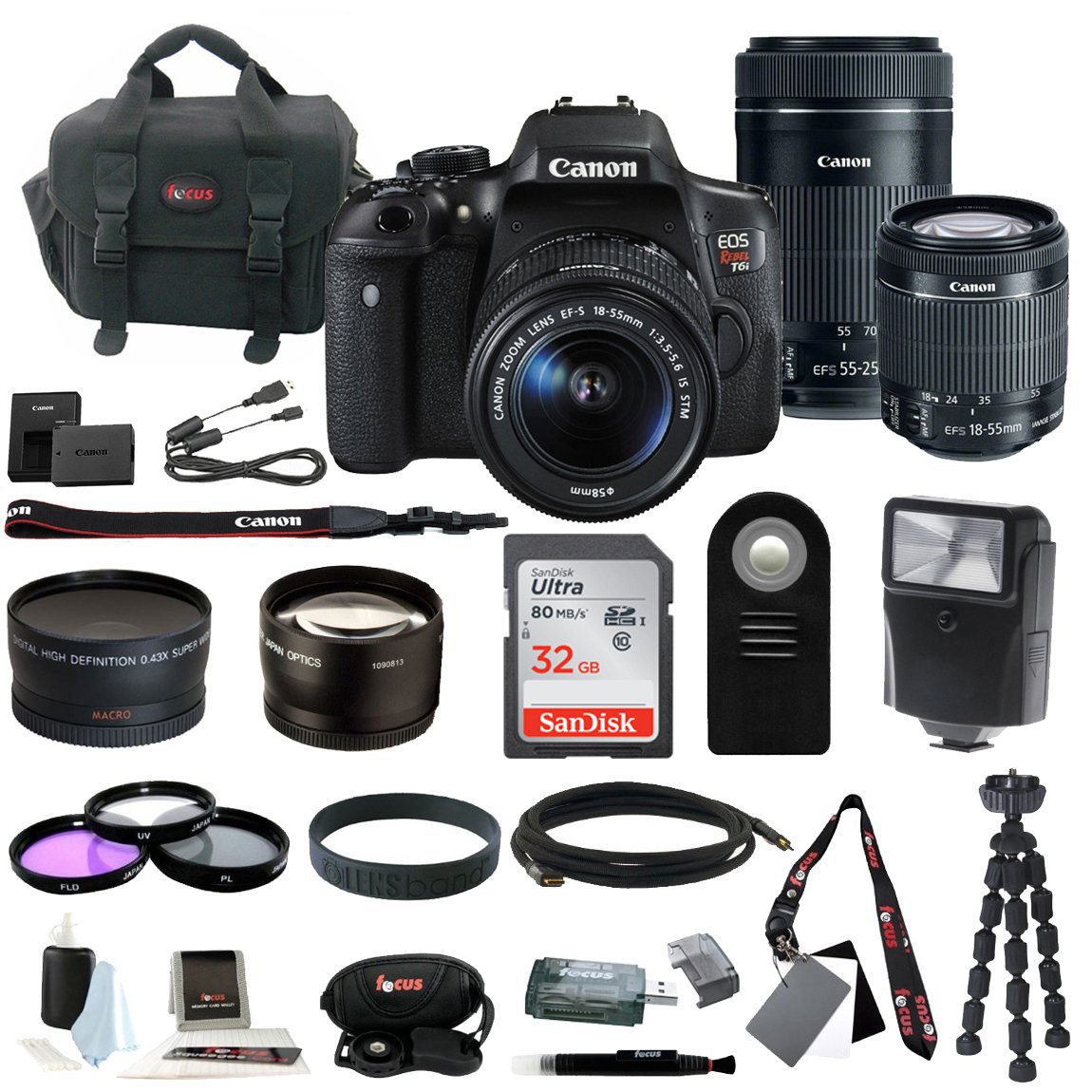 Canon EOS Rebel T6i Digital SLR with EF-S 18-55mm IS STM Kit Lens and Canon EF-S 55-250mm f/4-5.6 IS STM plus 32GB Delux