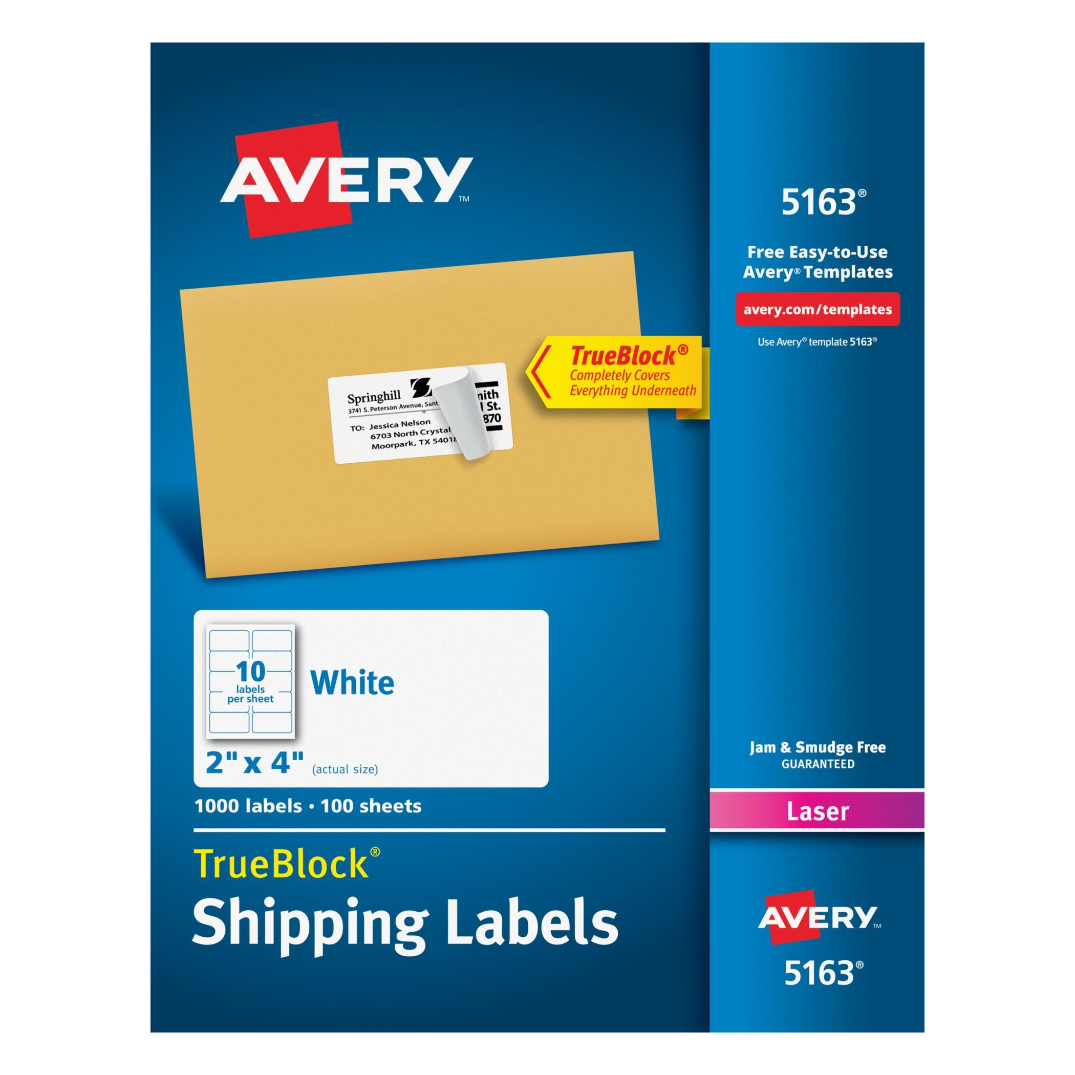 Avery White Shipping Labels w/ TrueBlock Technology for Laser ...