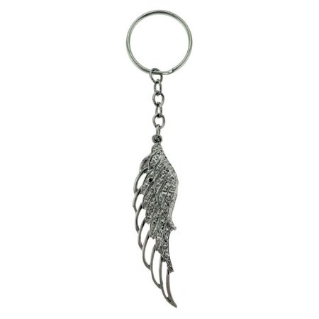 Rhinestone Accented Silver Angel Wing Keychain kekc6218 Angel Sterling Silver Keychain