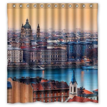 Hungarian Water - GreenDecor Beautiful View Budapest Hungary Waterproof Shower Curtain Set with Hooks Bathroom Accessories Size 66x72 inches